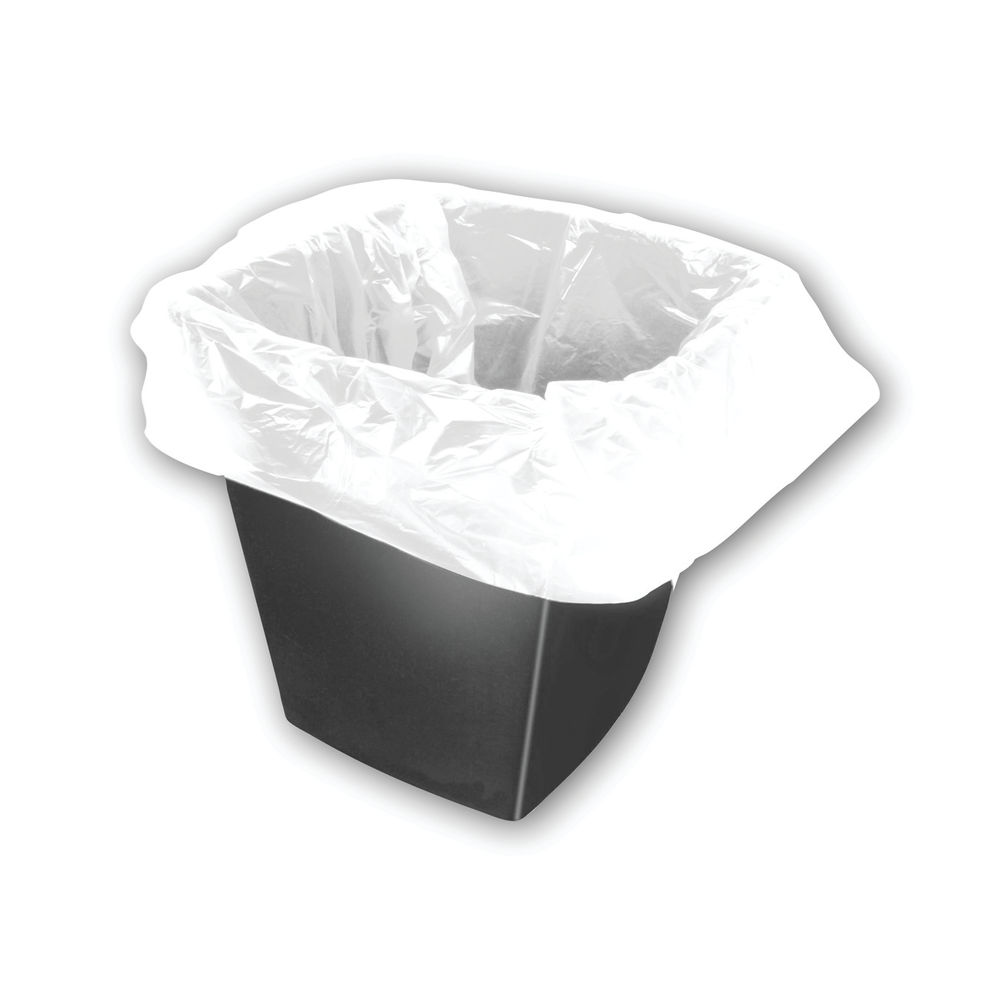 2Work Square Bin Liners 30 Litre White, Pack of 1000 - KF73380