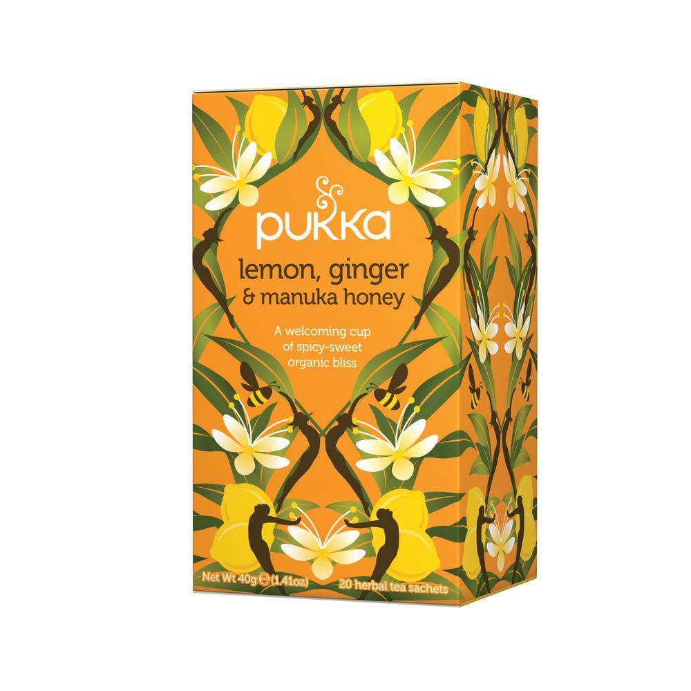 Pukka Lemon, Ginger and Manuka Tea Sachets, Pack of 20 | P5049
