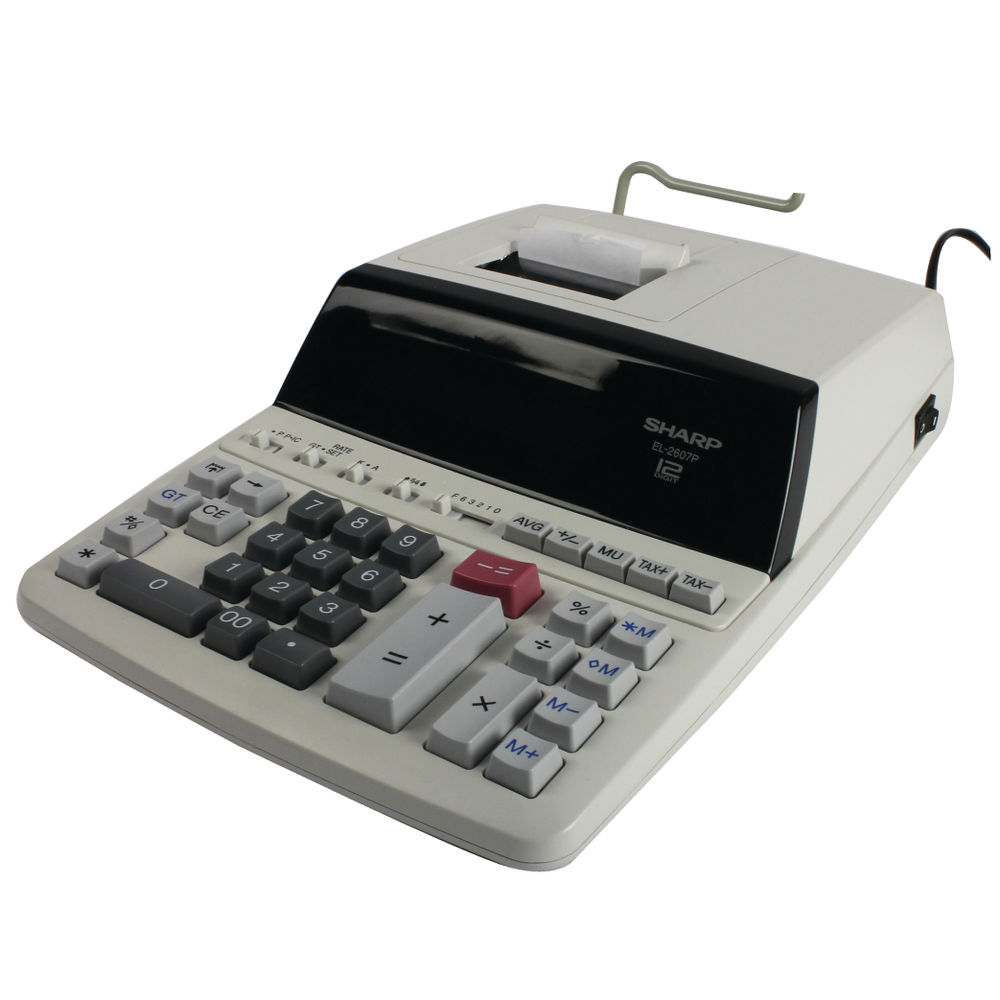 Sharp EL-2607P Printing Calculator, 12 Digit Fluorescent Display - EL-2607P