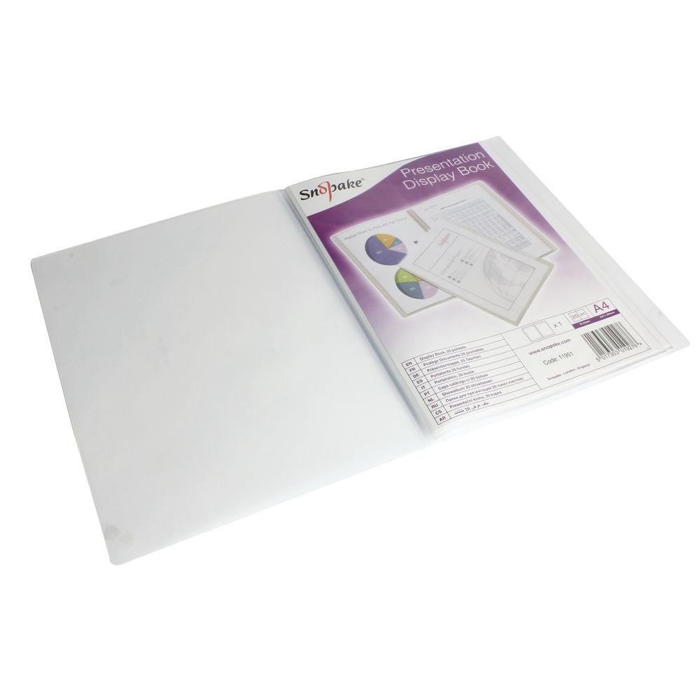 Snopake Superline A4 Clear Presentation Display Book, 20 Pockets - 11951