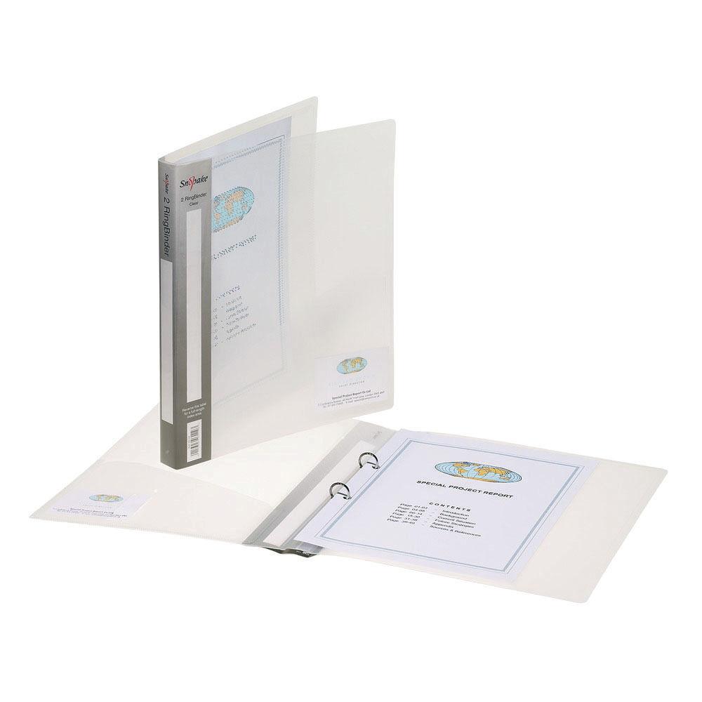Snopake Clear A4 2 O-Ring Binder, 25mm Pack of 10 - SK02701
