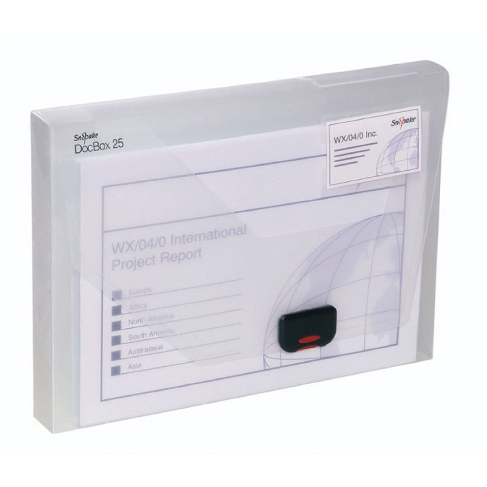 Snopake A4 Clear Polypropylene Document Box, 25mm - 12849
