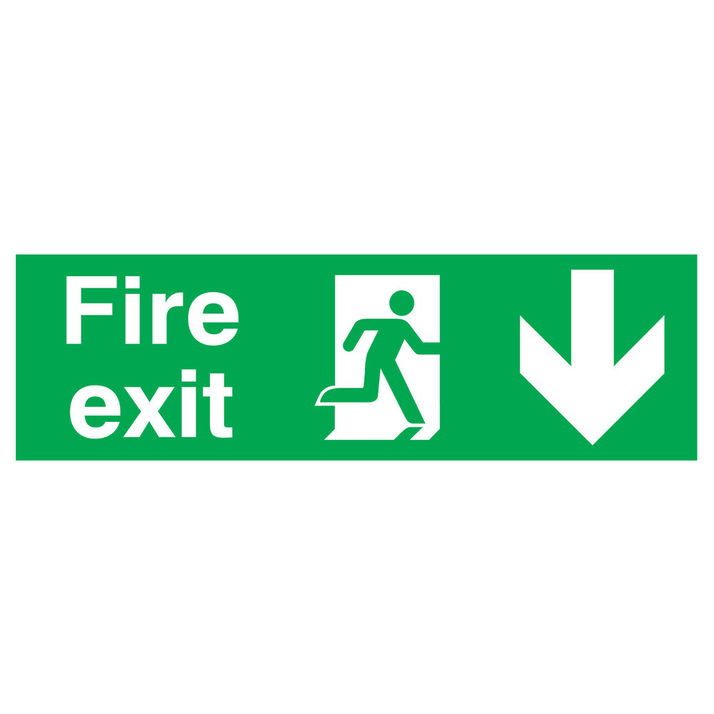 Fire Exit Running Man Arrow Down 150 x 450mm PVC Safety Sign - FX04211R