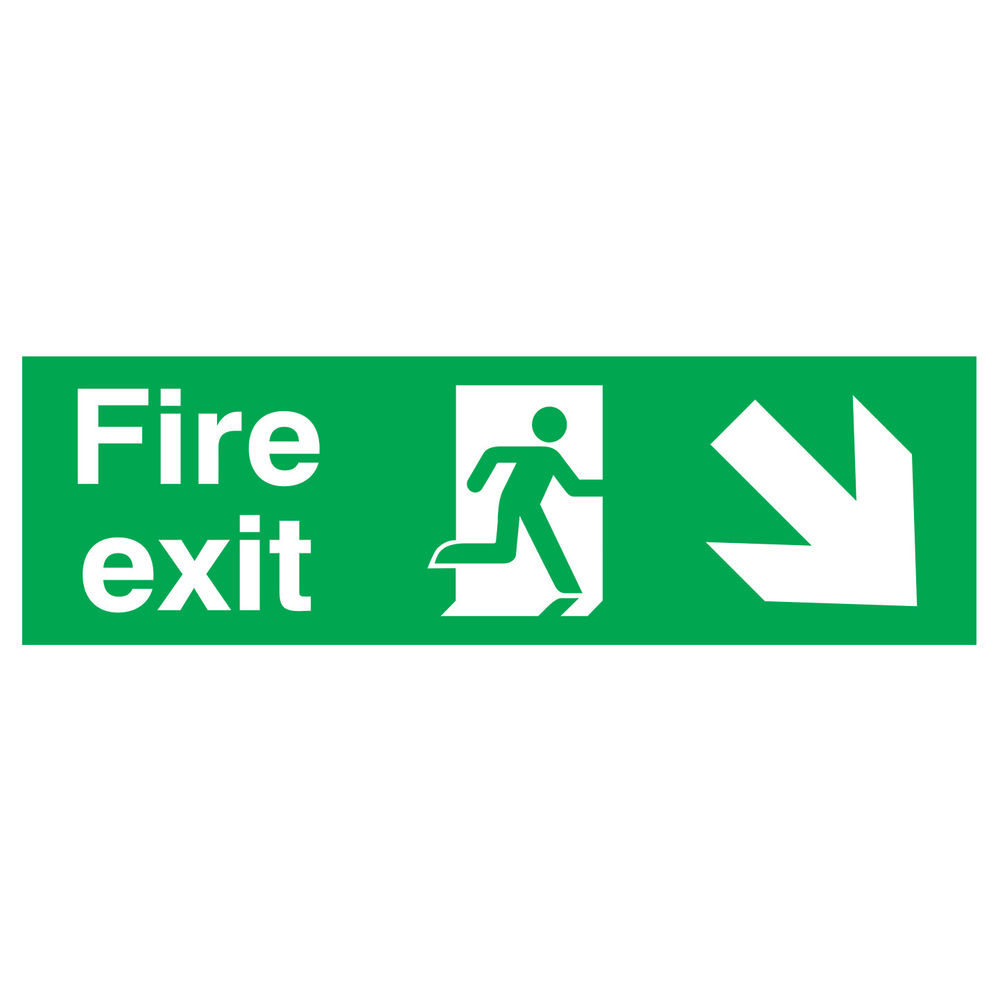 Fire Exit Running Man Arrow Down Right 150 x 450mm PVC Safety Sign - FX04111R