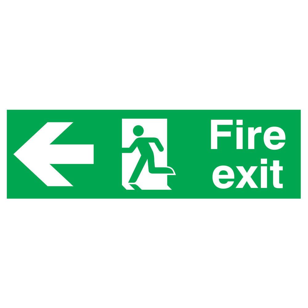 Fire Exit Running Man Arrow Left 150 x 450mm PVC Safety Sign - FX04311R