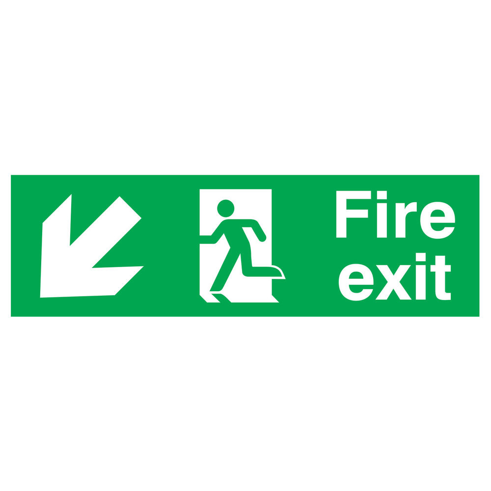 Fire Exit Running Man Arrow Down Left 150 x 450mm PVC Safety Sign - FX04011R