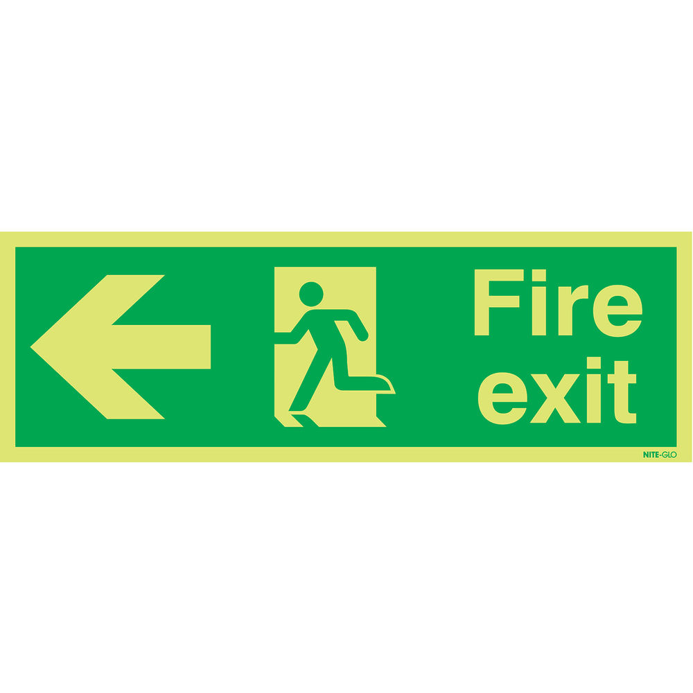 Niteglo Fire Exit Running Man Arrow Left 150 x 450mm PVC Safety Sign - FX04311M