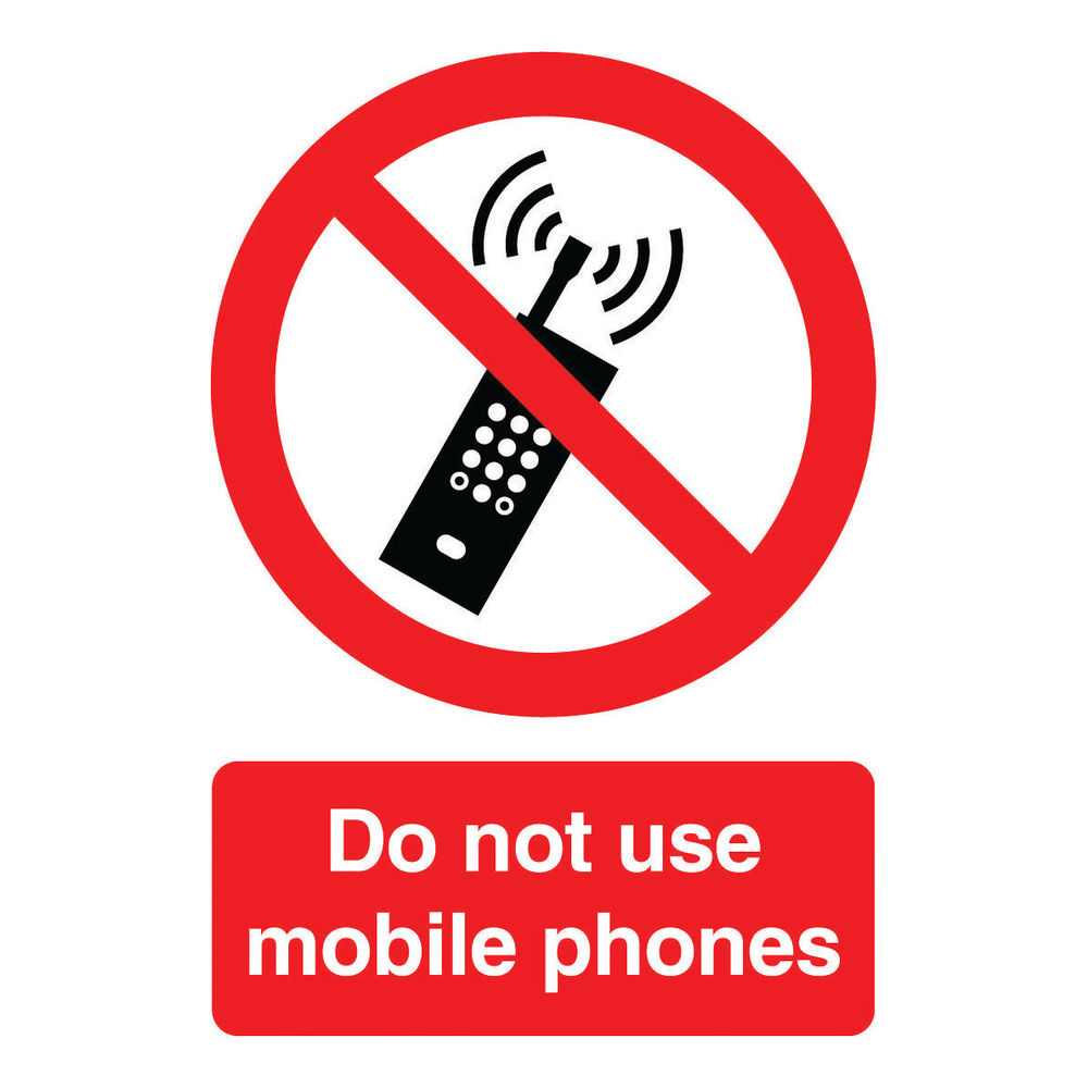 Do Not Use Mobile Phones A5 Self-Adhesive Safety Sign - PH01051S