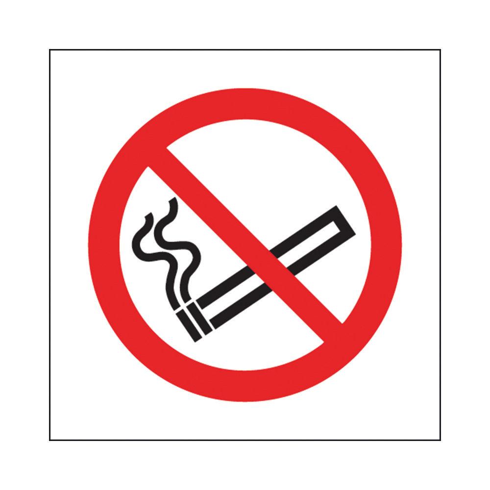 No Smoking 100 x 100mm Symbol Self-Adhesive Safety Signs, Pack of 5 - KP01N/S