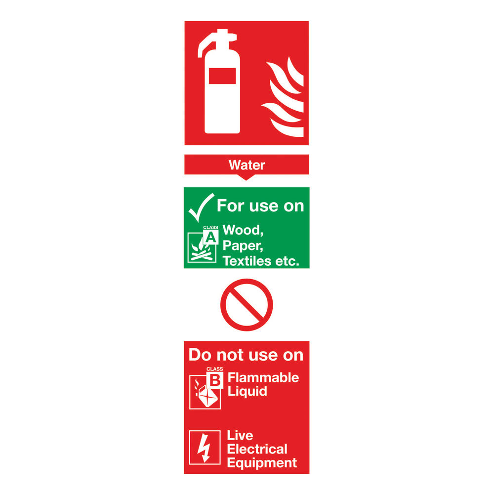 Fire Extinguisher Water 300 x 100mm PVC Safety Sign - F100/R