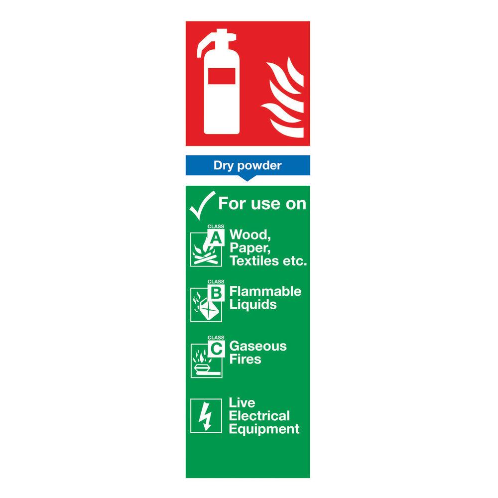 Fire Extinguisher Dry Powder 300 x 100mm PVC Safety Sign - F101/R