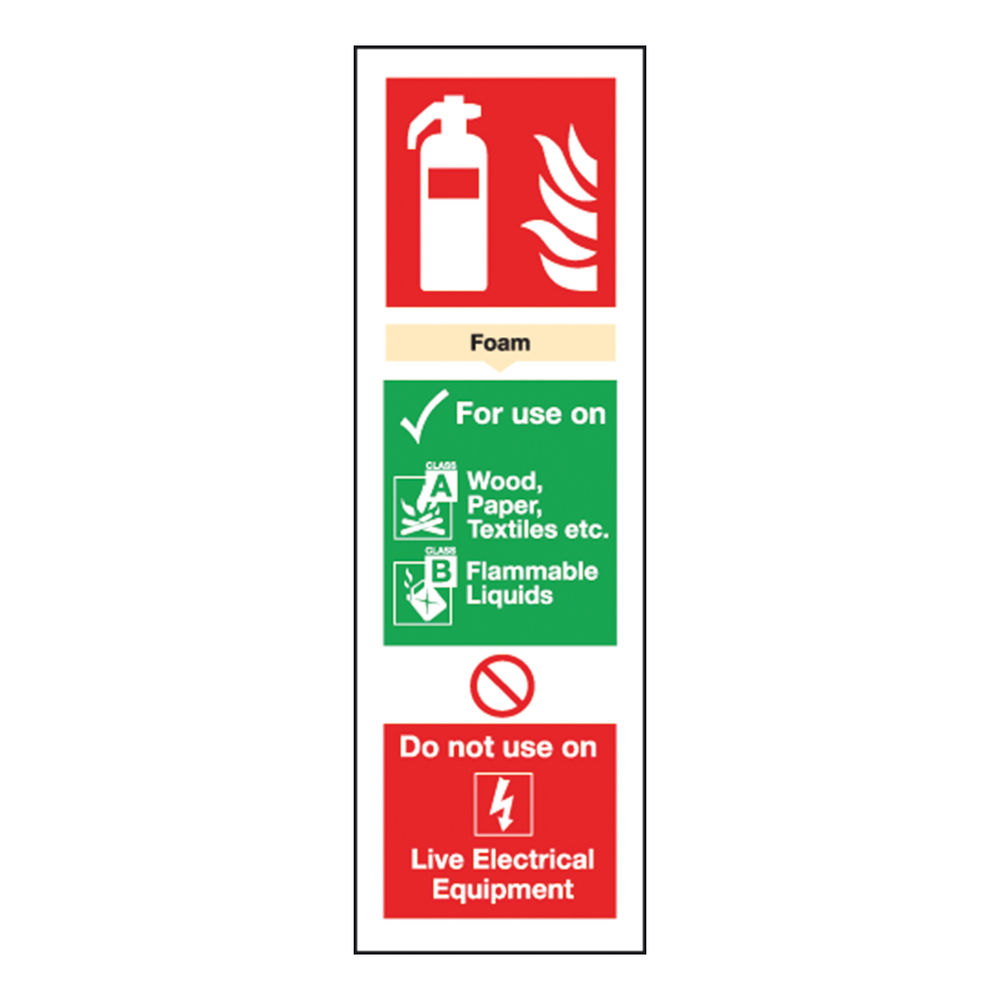 Fire Extinguisher Foam 300 x 100mm Self-Adhesive Safety Sign - F202/S