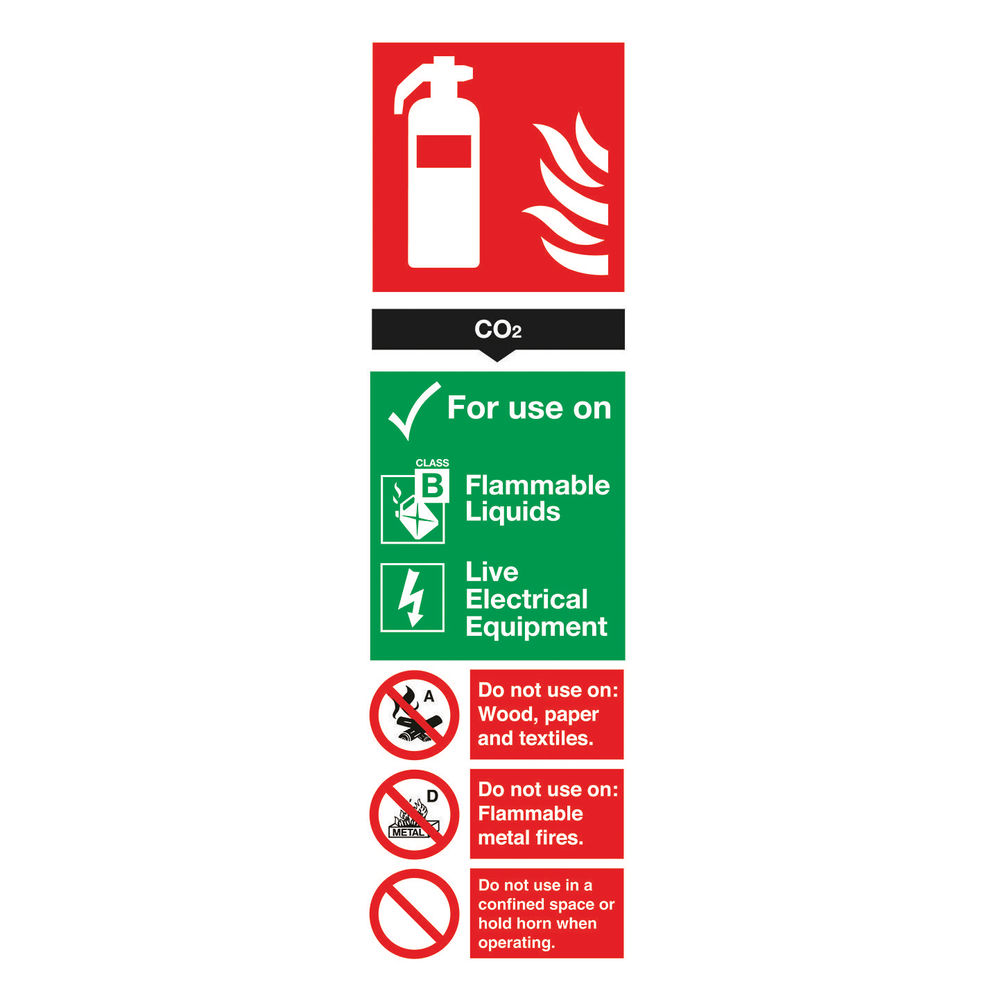 Safety Sign Fire Extinguisher Carbon Dioxide 280 x 90mm - F103/R