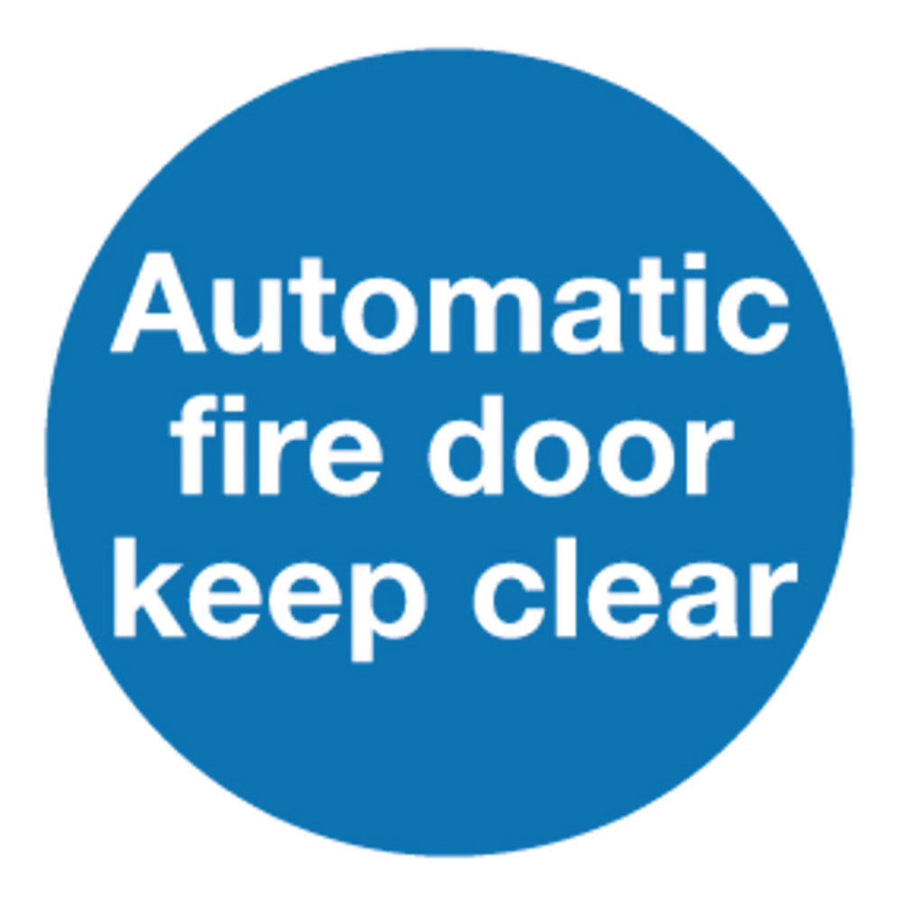 Automatic Fire Door 100 x 100mm Self-Adhesive Safety Sign, Pack of 5 - KM73A/S