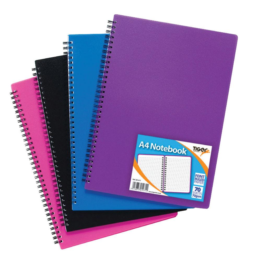 Sundry A4 Wiro Polypropylene Notebooks, Pack of 5 - 301471
