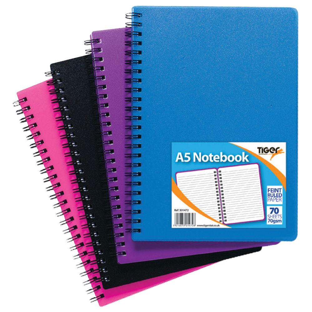 Sundry Assorted A5 Wiro Polypropylene Notebooks, Pack of 5 - 301472