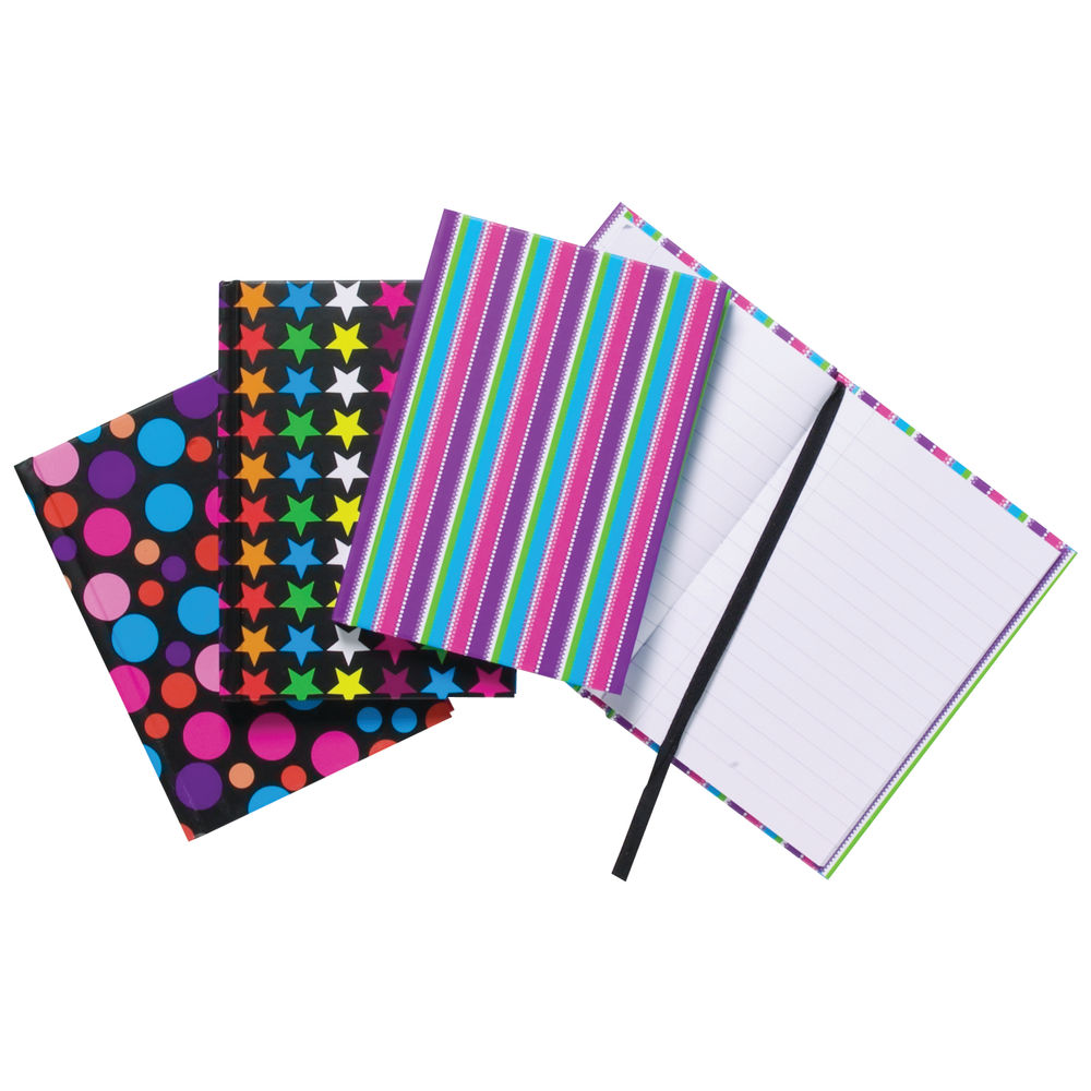 A6 Fashion Assorted Feint Ruled Casebound Notebooks (Pack of 10) 301642
