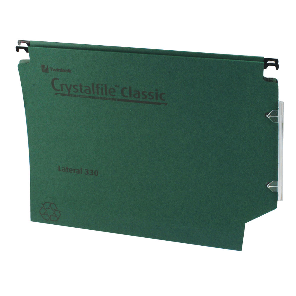 Rexel Crystalfile Classic Green Lateral Files, 30mm - Pack of 25 - 3000109
