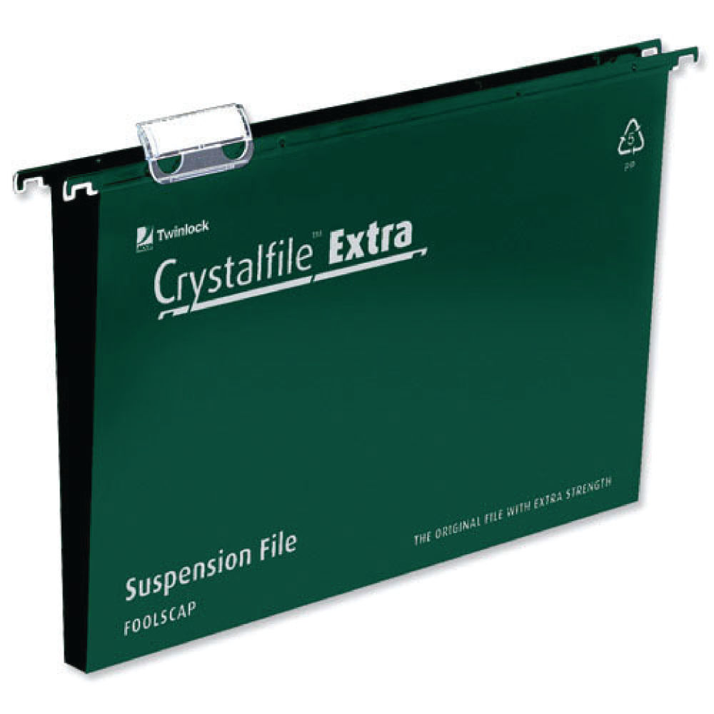 Rexel Crystalfile Extra Foolscap 50mm Green Suspension Files, Pack of 25 - 3000112