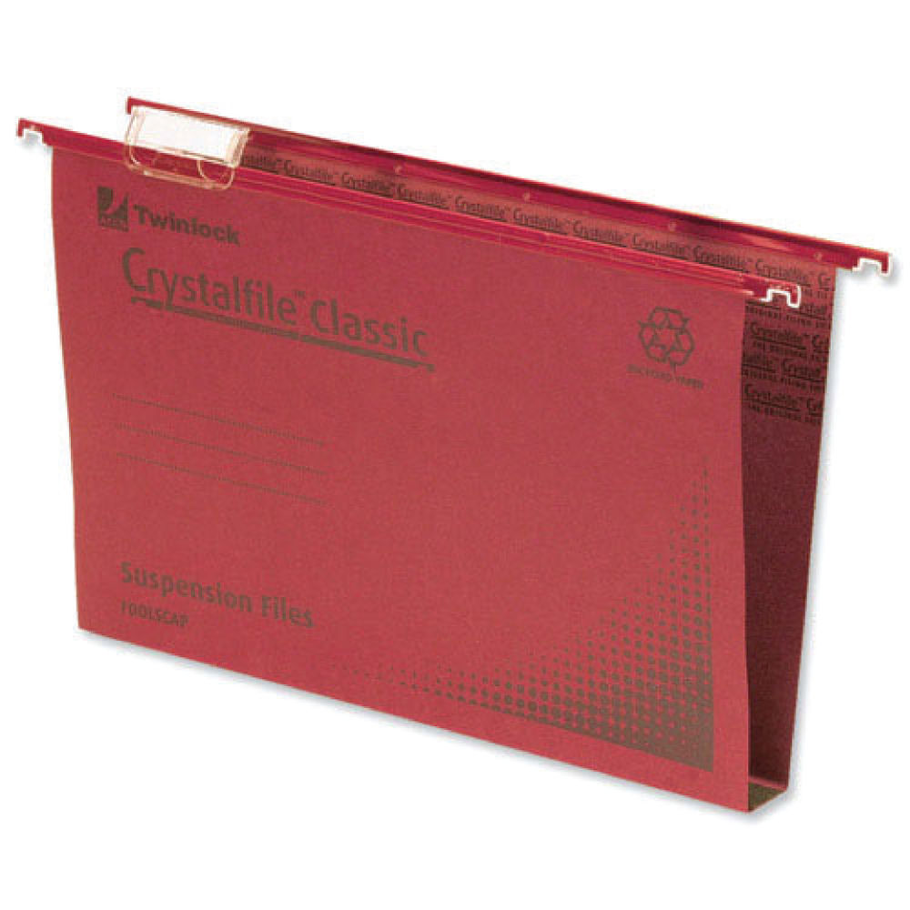 Rexel Crystalfile Classic Foolscap 30mm Red Suspension Files, Pack of 50 - 70622