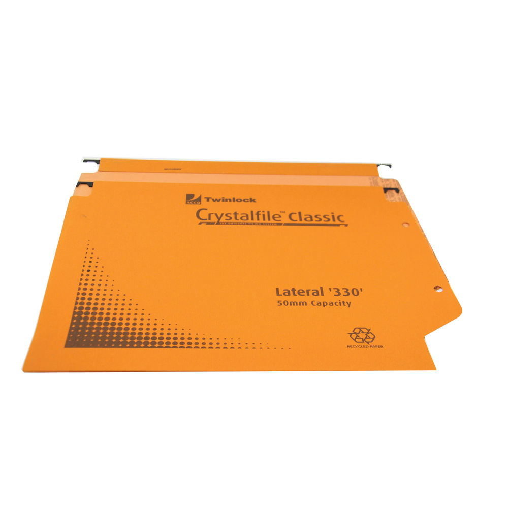 Rexel Crystalfile Foolscap Orange Lateral File, 50mm - Pack of 25 - 70673