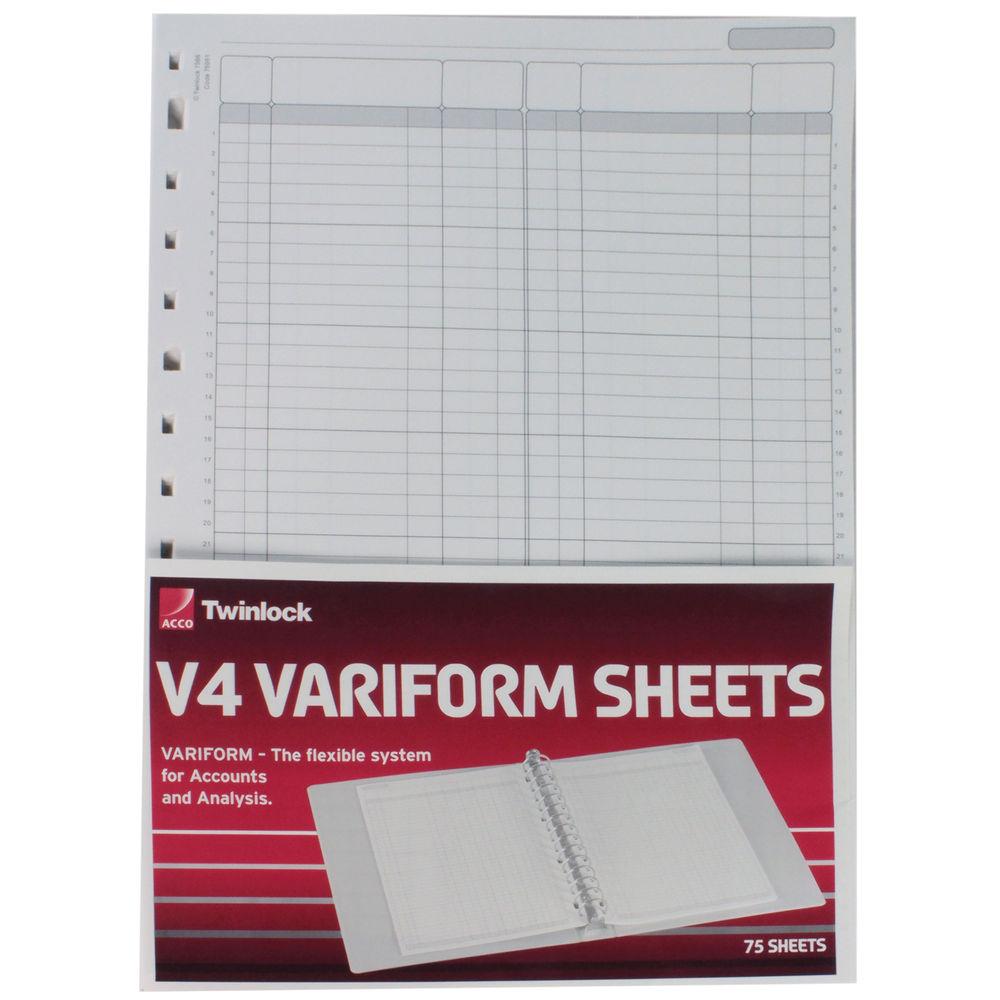Acco Twinlock Variform V4 Double Ledger Refill Sheets (Pack of 75) - 75951