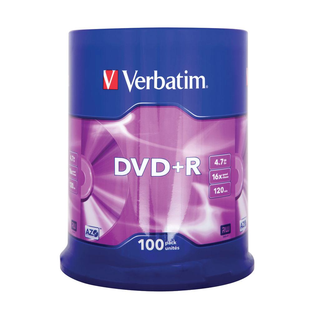 Verbatim Non-Printable 4.7GB 16x DVD+R Discs, Pack of 100 - 43551