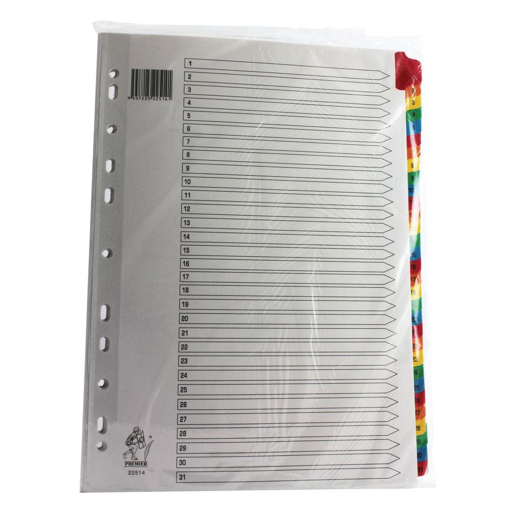 Multicoloured A4 1-31 Mylar Index - WX01522