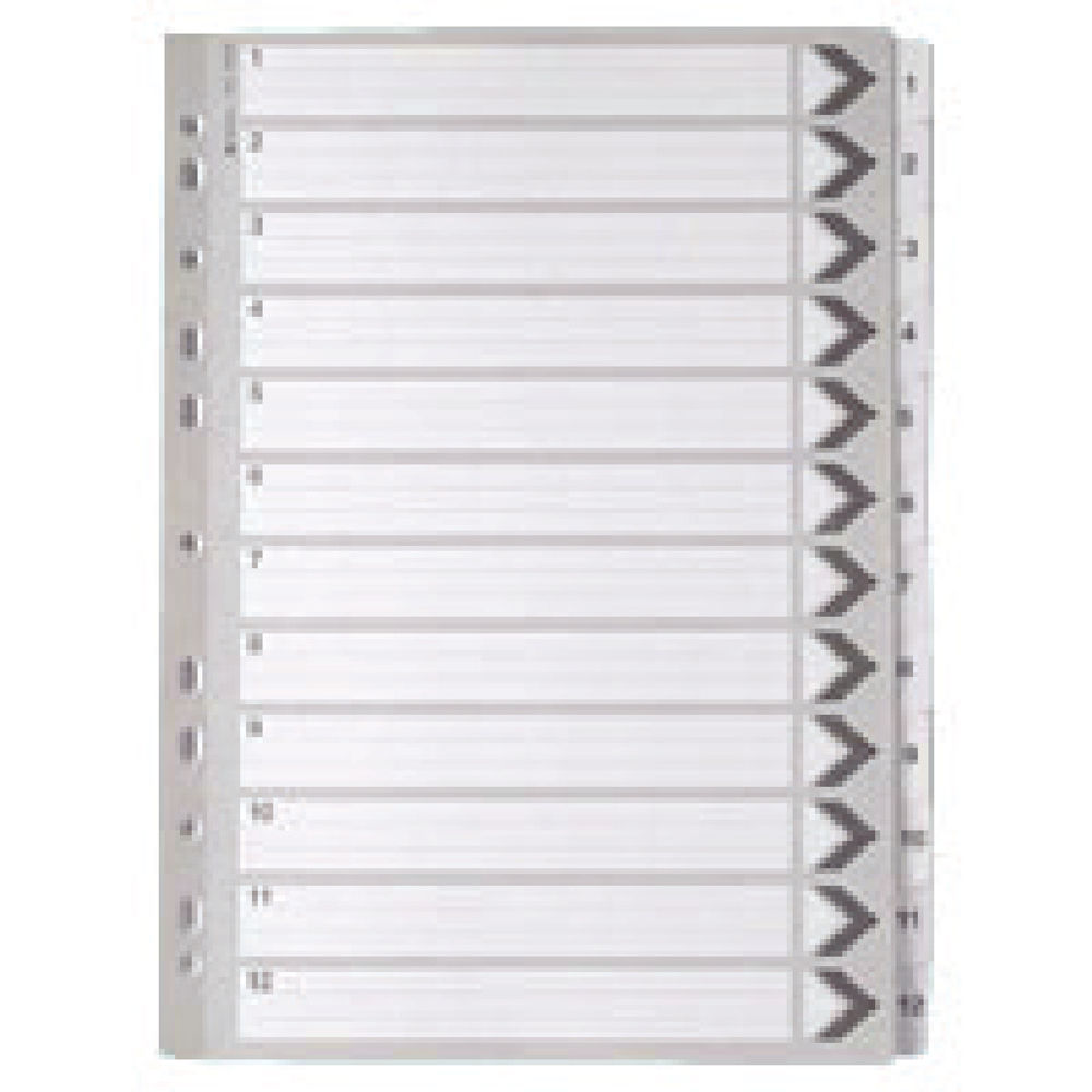 A4 White 1-12 Mylar Index Dividers WX01529