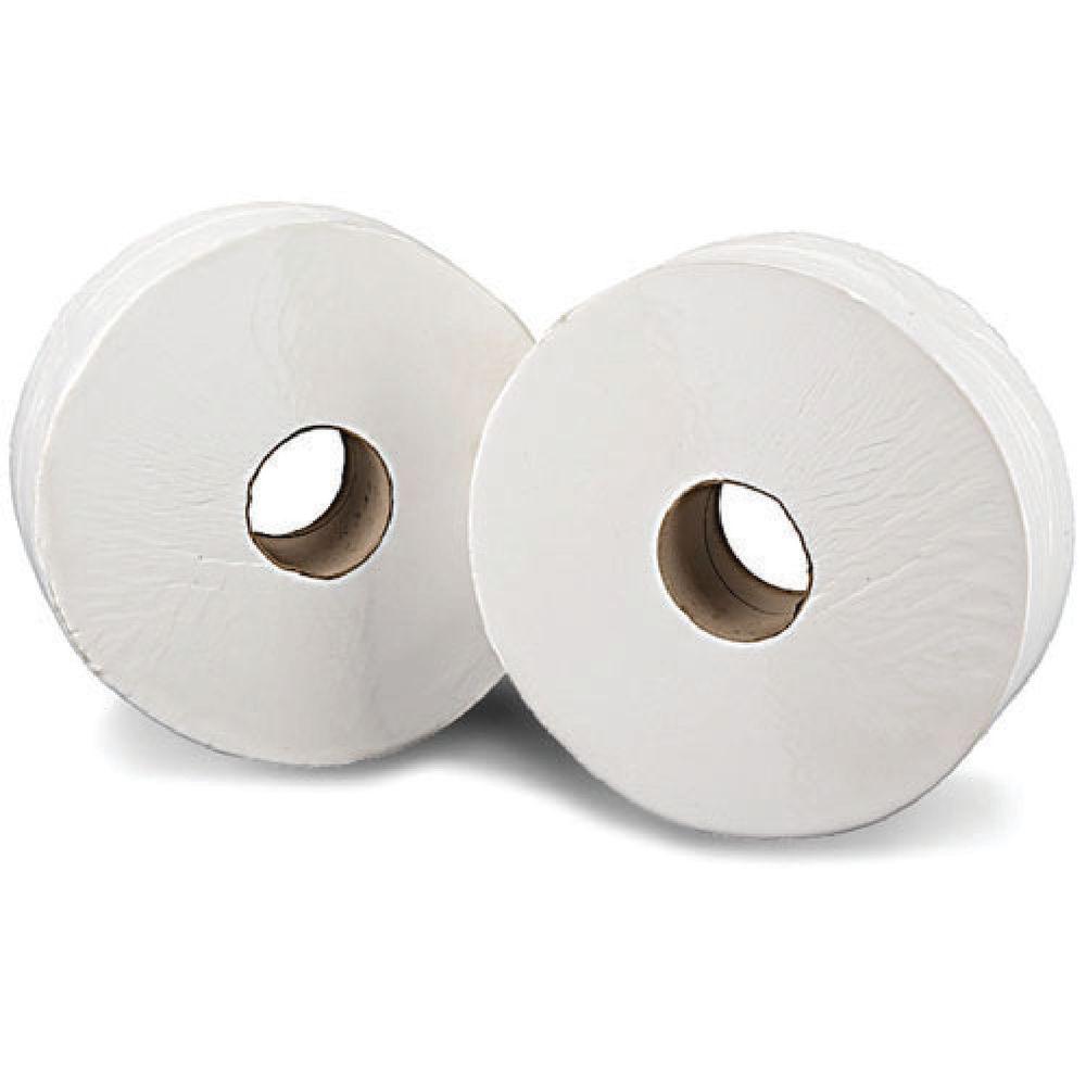 Mini Jumbo White 2-Ply Toilet Rolls, Pack of 12 - JWH150