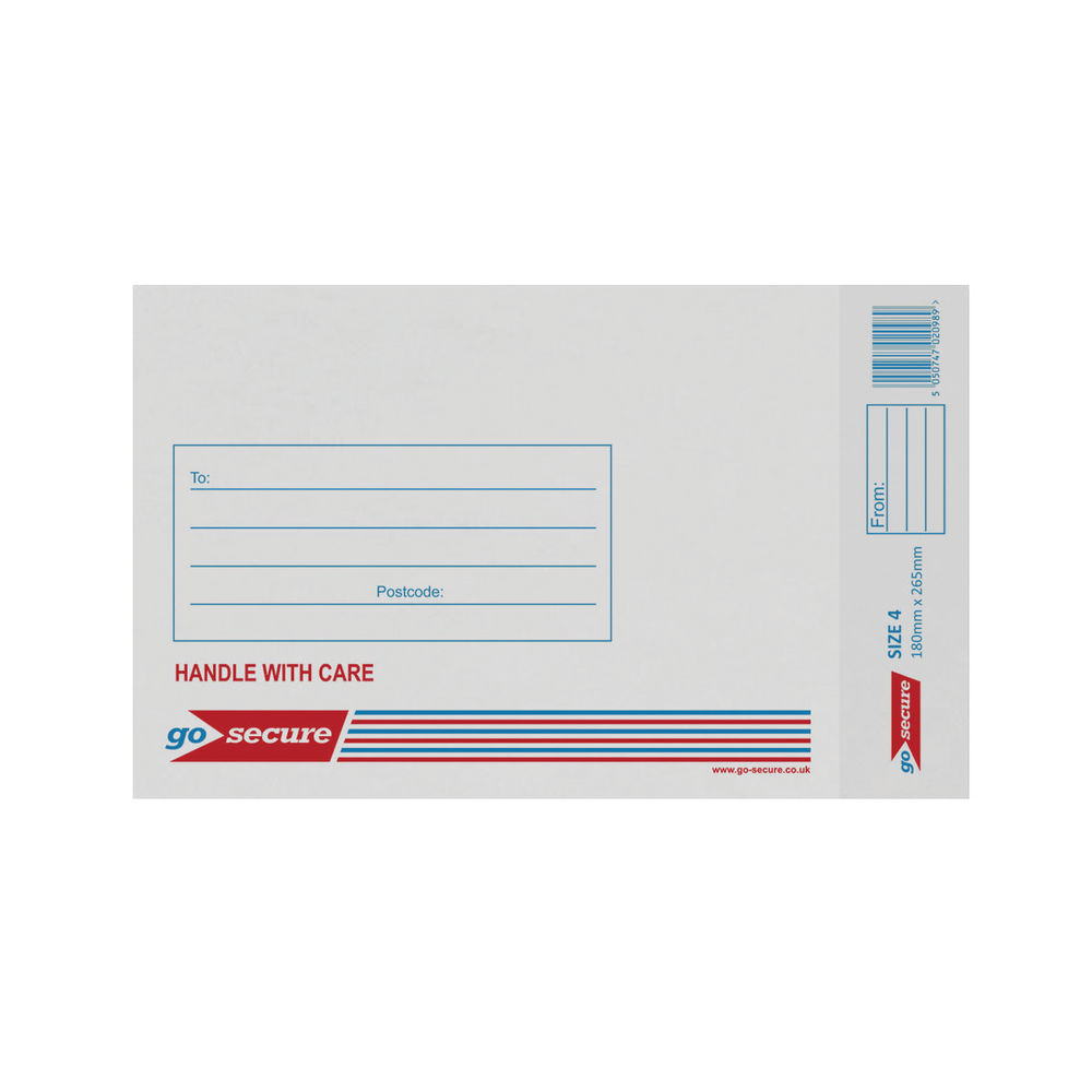 Go Secure White Size 4 Bubble Lined Envelope 180x265mm (Pack of 20) PB02128
