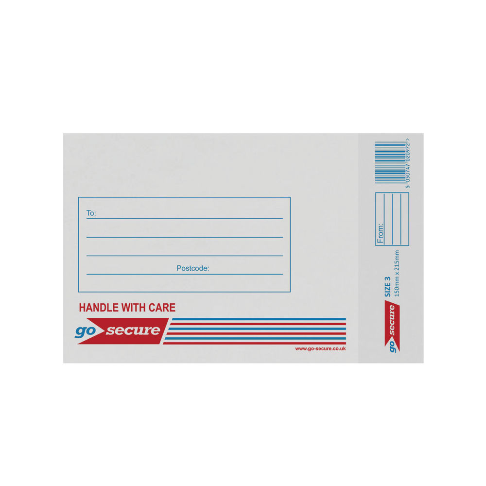Go Secure White Size 3 Bubble Lined Envelope 150x215mm (Pack of 20) PB02131