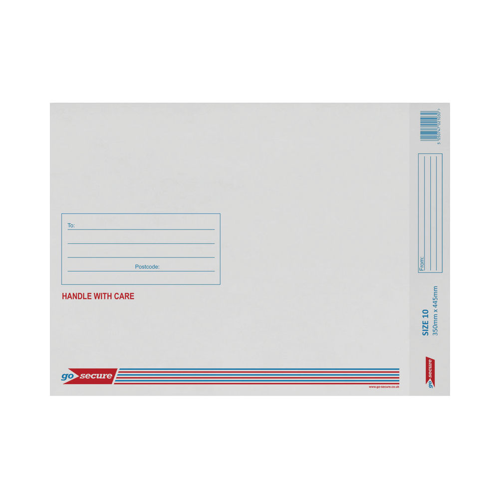Go Secure White Size 10 Bubble Lined Envelope 350x470mm (Pack of 20) PB02133