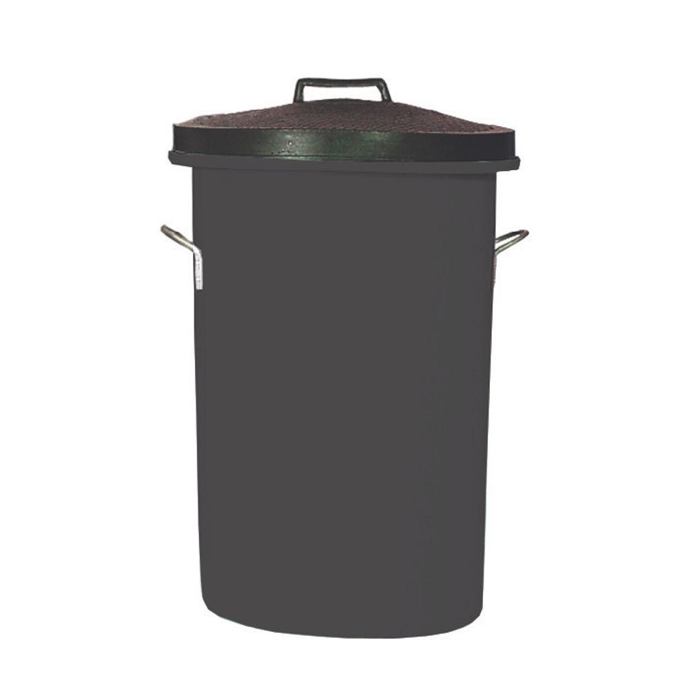 Heavy Duty Cylindrical Storage Bin With Lid Black 311960
