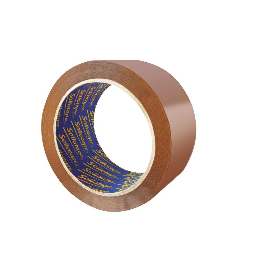 Sellotape Vinyl Case Sealing Tape 50mmx66m Brown (4 Packs of 6) SE810840