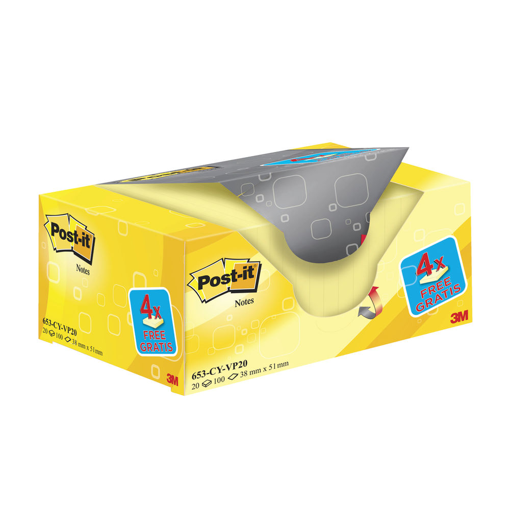 Post-it 38 x 51mm Canary Yellow Notes, Value Pack of 20 | 653CY-VP20