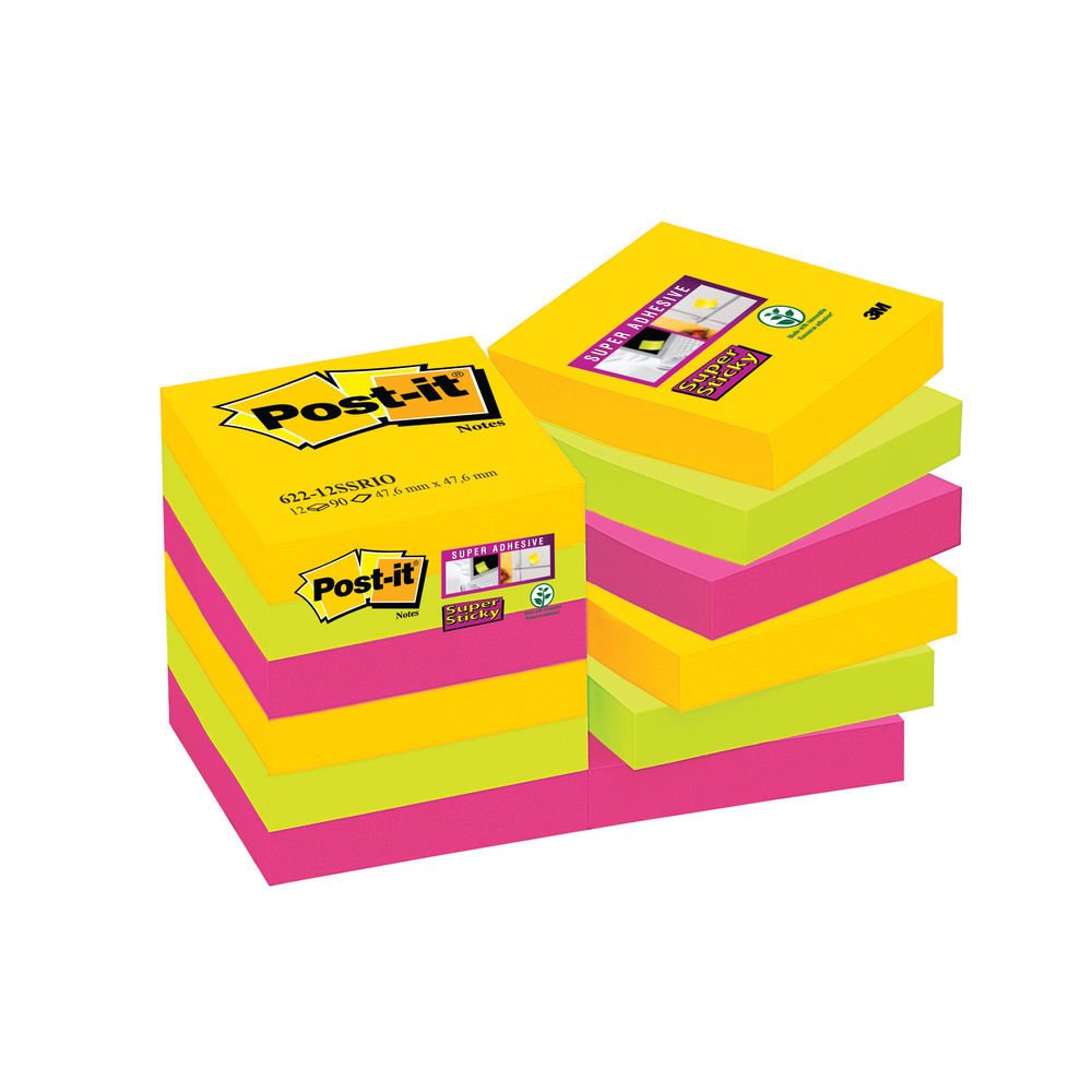 Post-it 47.6 x 47.6mm Rio Super Sticky Notes, Pack of 12 - 622-12SSRIO