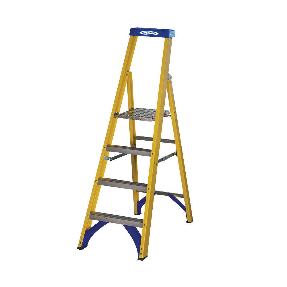 Abru Yellow 4 Tread Fibreglass Platform Step Ladder - 7170418