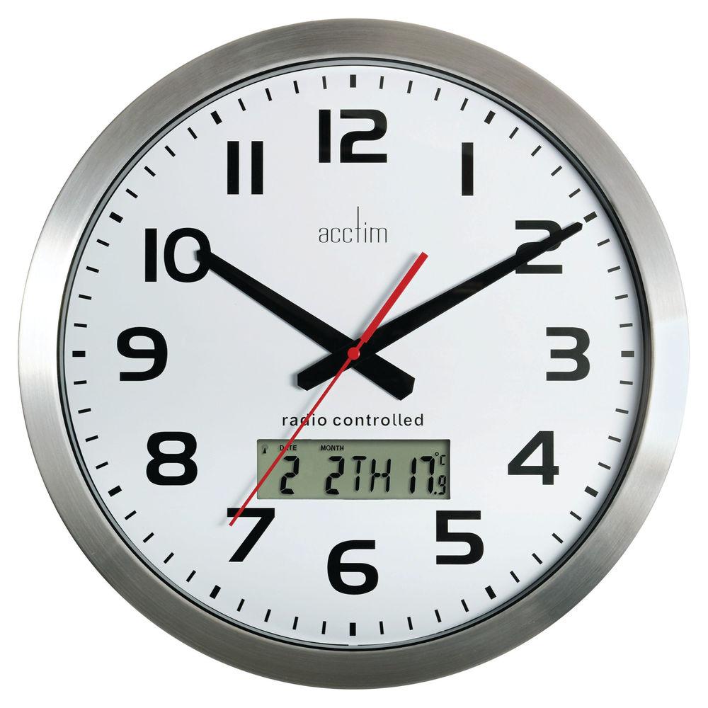 Acctim Meridian Aluminium Radio Controlled Wall Clock - 74447
