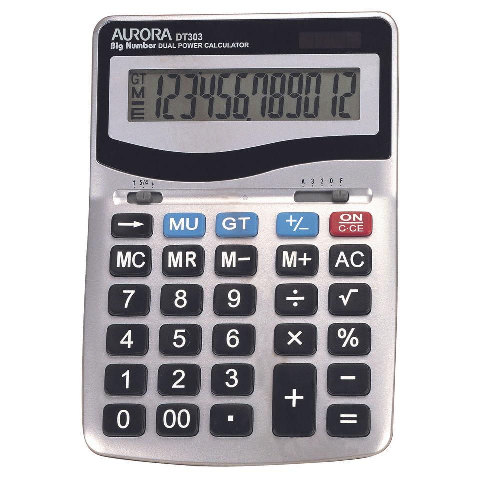 Aurora DT303 Large Desktop Calculator, 12 Digit Display - 566861