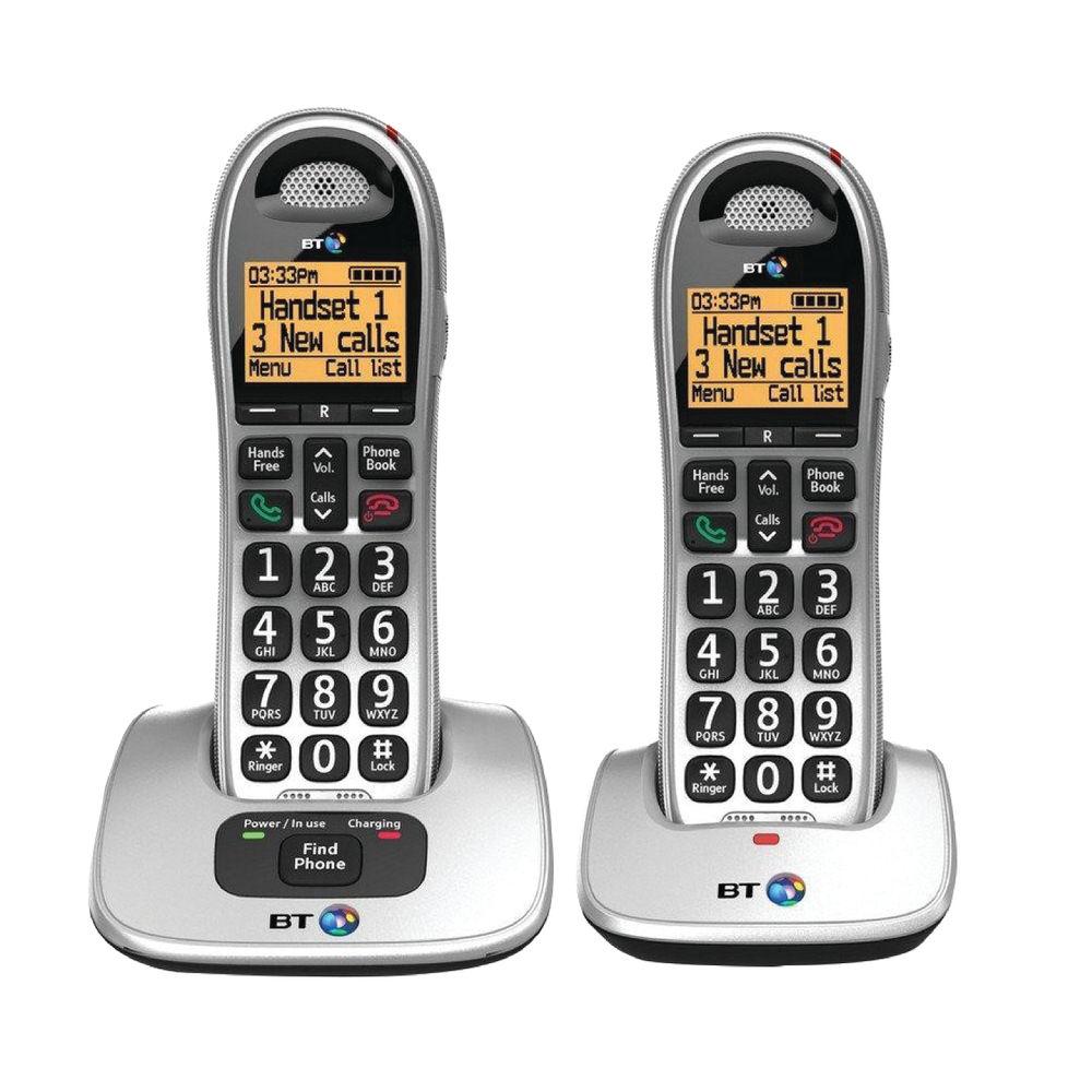 BT BT4000 Twin Big Button DECT Cordless Phone Silver/Black 069265