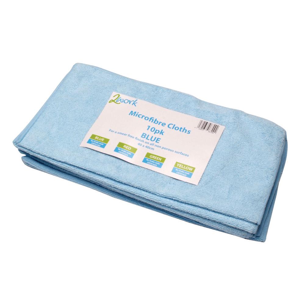 2Work Microfibre Cloth 400x400mm Blue (Pack of 10) 101161BU