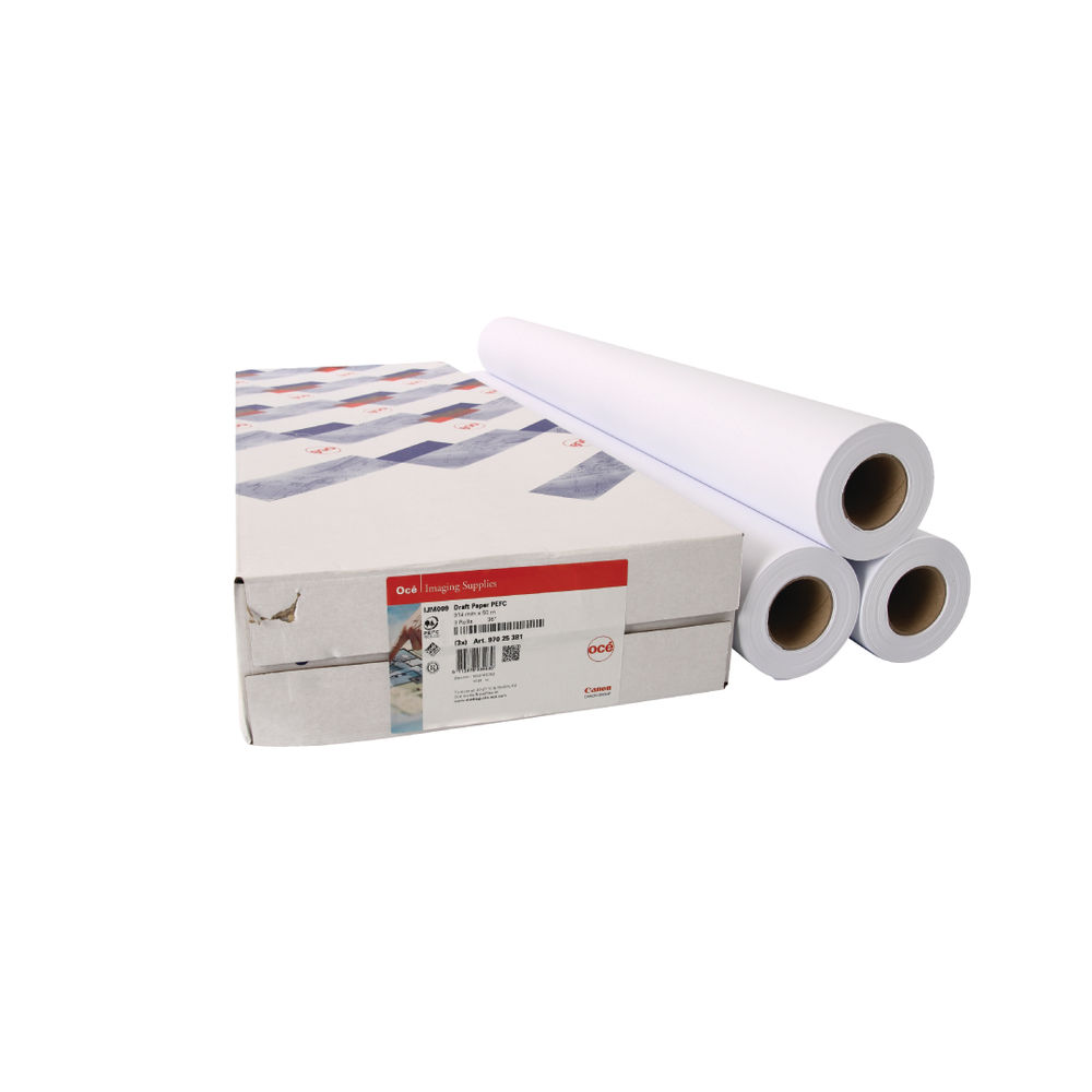 Canon Uncoated White Draft Paper 75gsm, 841mm x 50m - Pack of 3 - 97003455