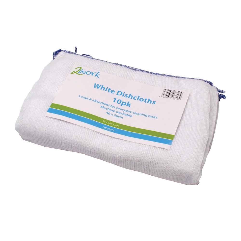 2Work Dishcloth White (Pack of 10) - BXB111610I