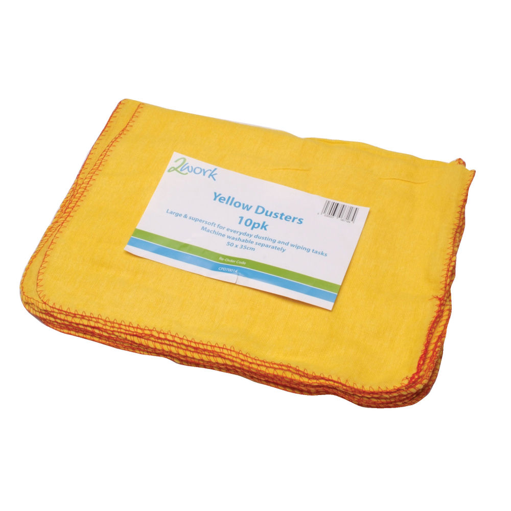 2Work Yellow Duster 508 x 355mm (Pack of 10) 103088