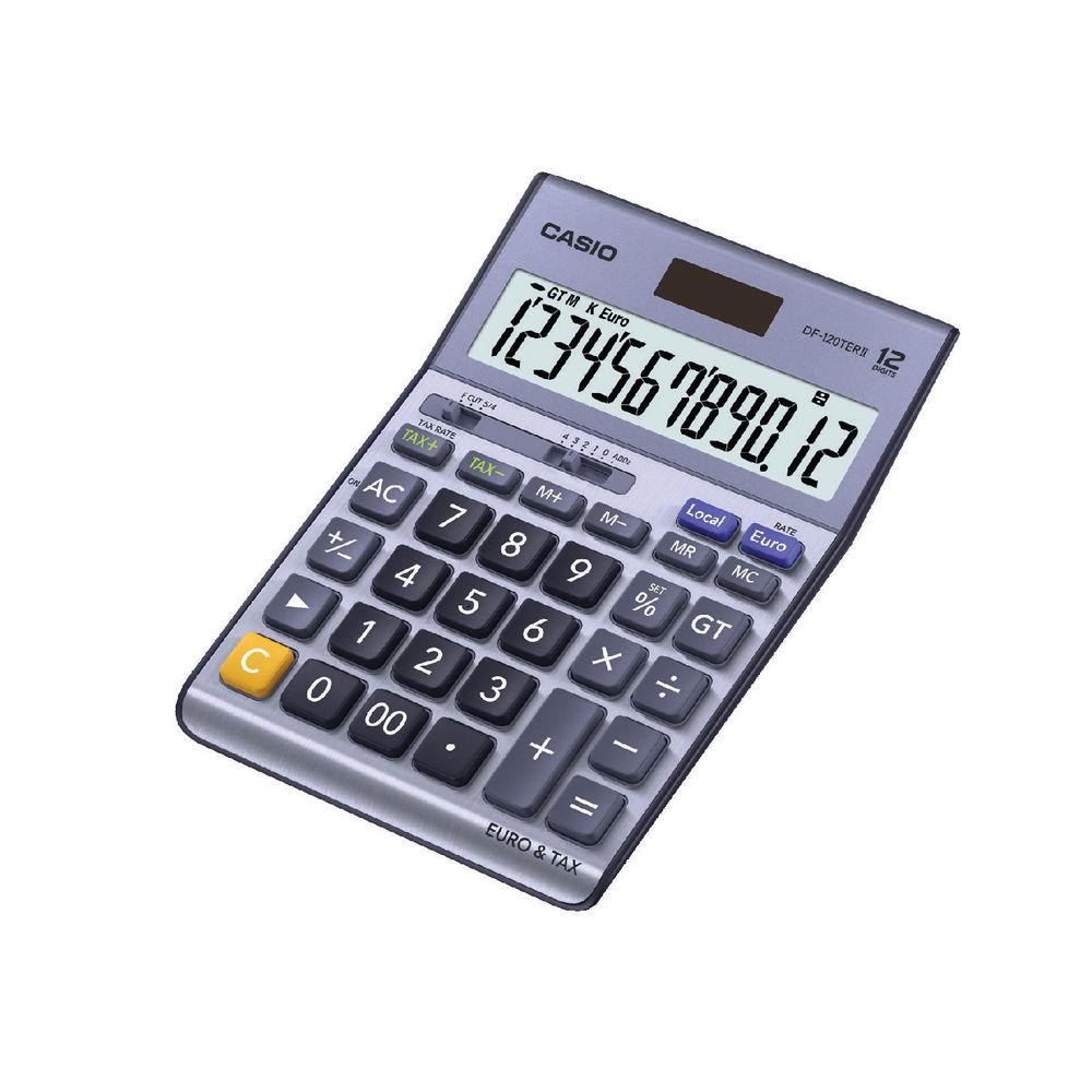Casio Silver 12-Digit DF-120TERII Desktop Calculator - DF-120TERII