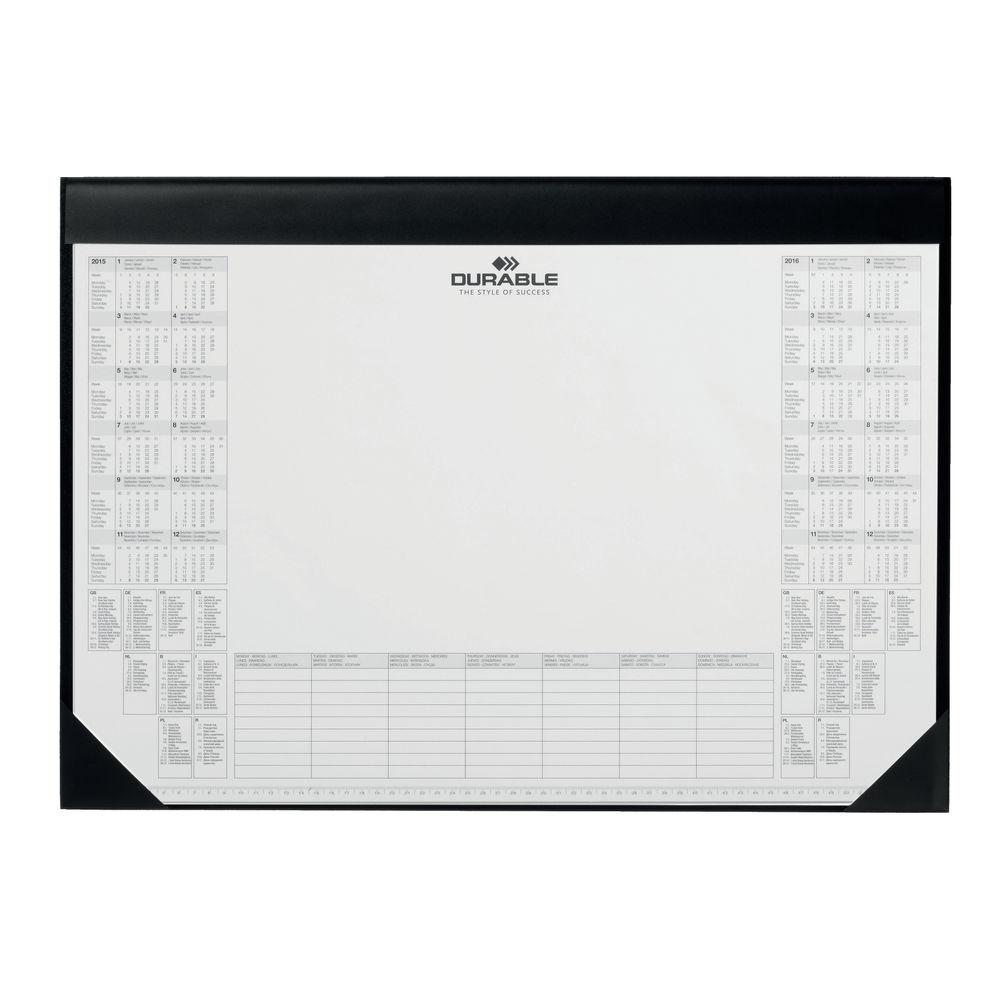 Durable 42 x 59cm Black Calendar Desk Mat with Inlay - 7291/01