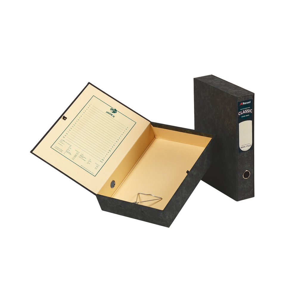 Rexel Classic Foolscap Black and Green Box Files, 70mm - Pack of 5 - 30115