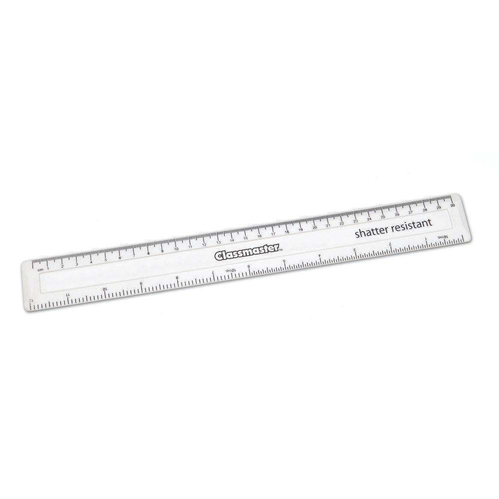 Classmaster White 30cm Shatter Resistant Ruler, Pack of 100 - SPR30WH/100