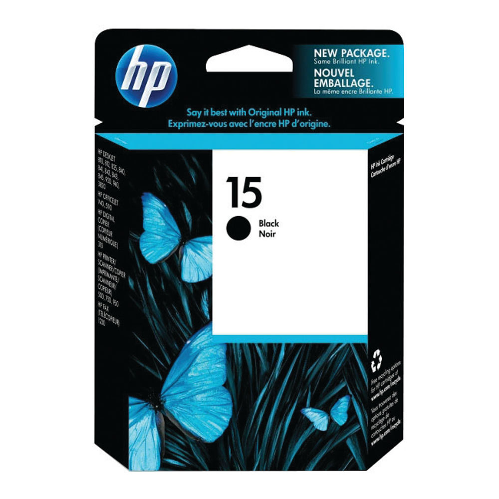 HP 15 Black Inkjet Cartridge 25ml | C6615D